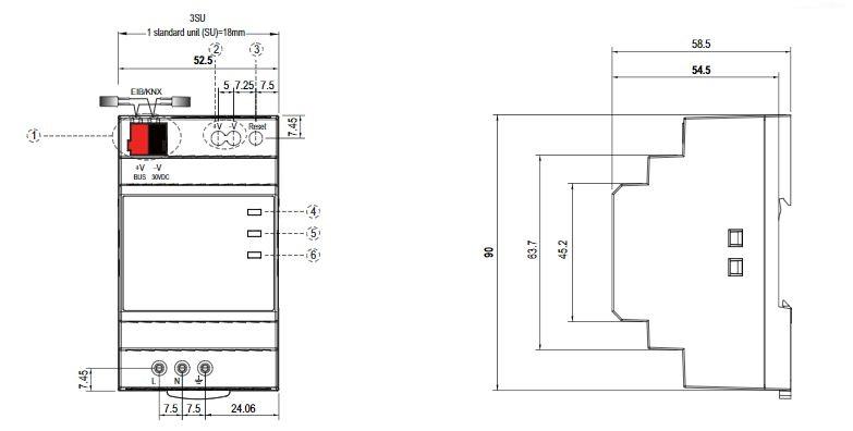 Zasilacz magistrali DIN KNX-20E-640