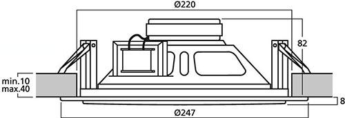 Wymiary głośnika sufitowego EDL-10TW.