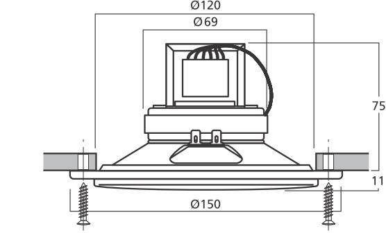 Wymiary głośnika EDL-150/WS.
