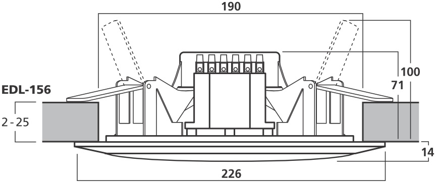 Wymiary głośnika sufitowego EDL-156.