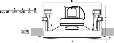 Wymiary głośnika sufitowego EDL-28.