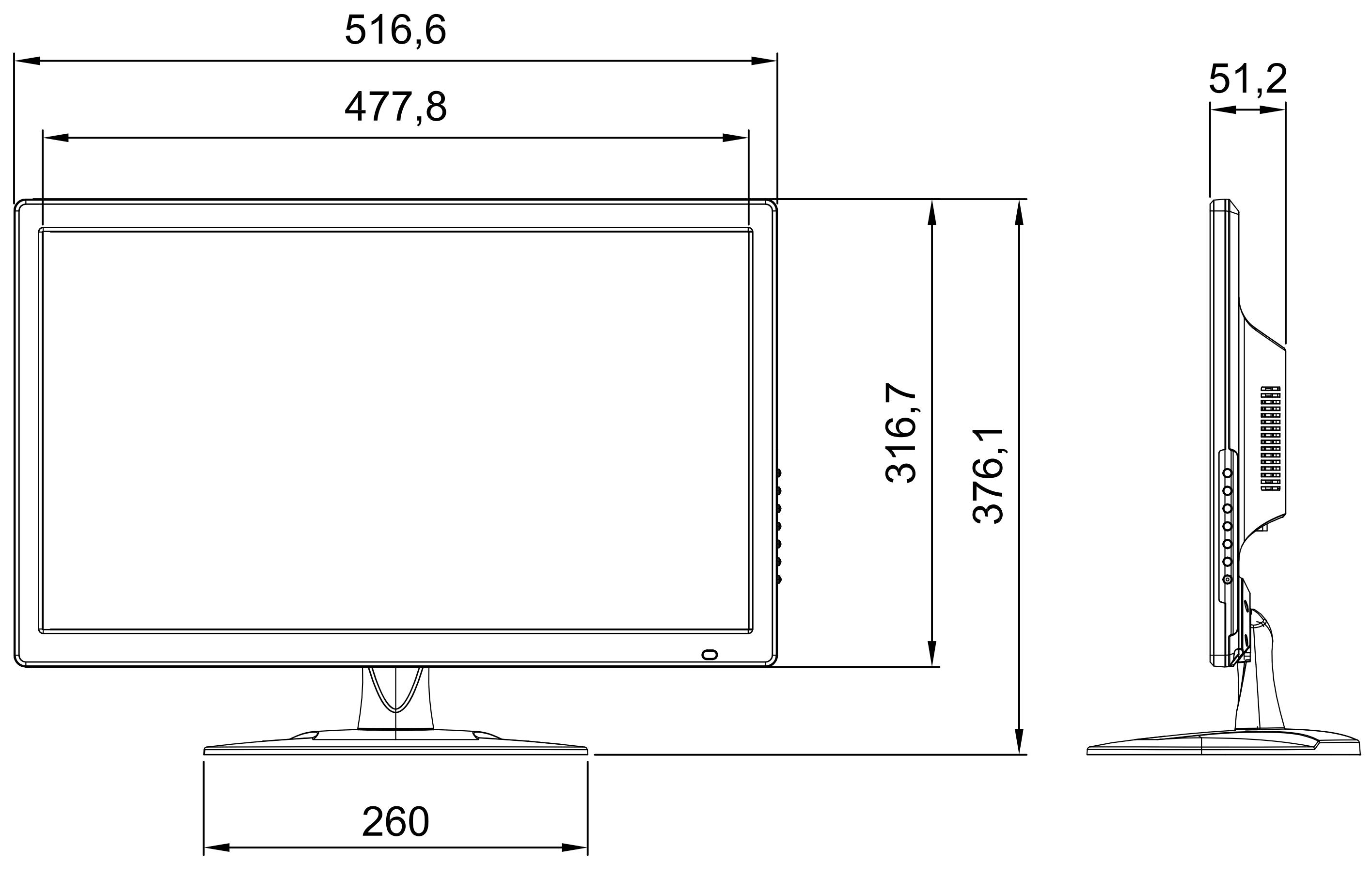 Wymiary monitora LCD SC-22.