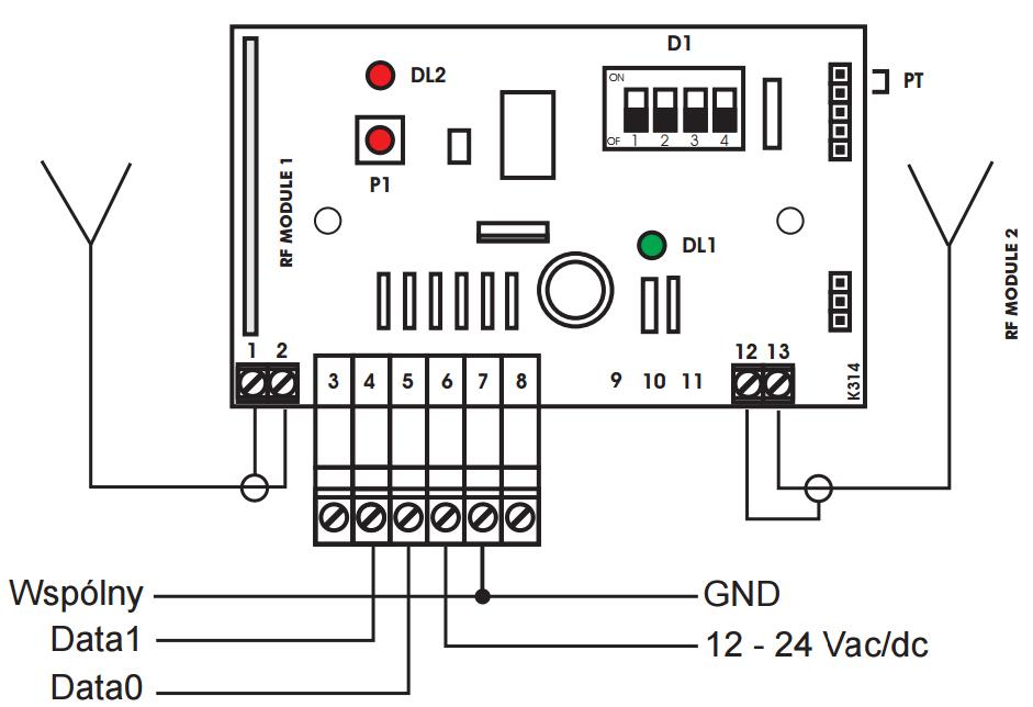 SELW2630MF - Schemat podłączenia odbiornika.