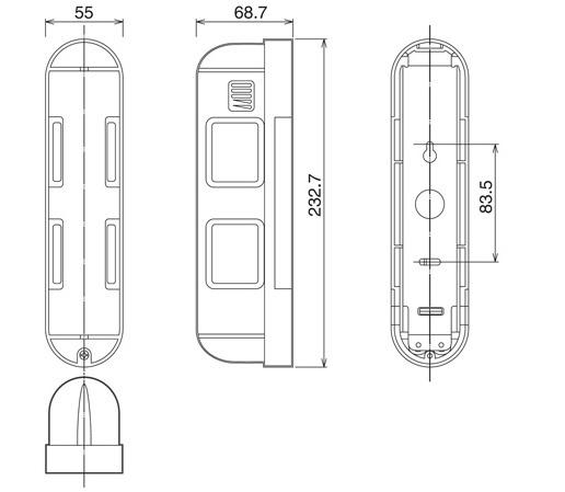Wymiary czujnika OPTEX BX-80N
