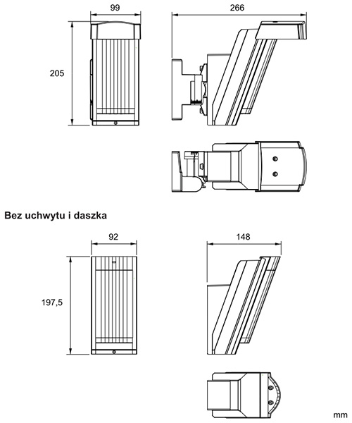 Wymiary czujnika Optex.