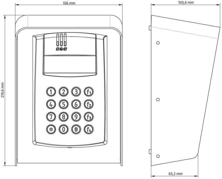 Wymiary wewnętrznego kontrolera dostępu PR602LCD-DT-O.