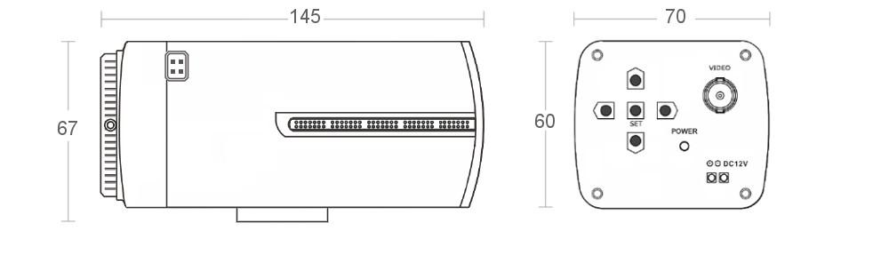 PX-BH2000WS - Wymiary kamery podane w mm.