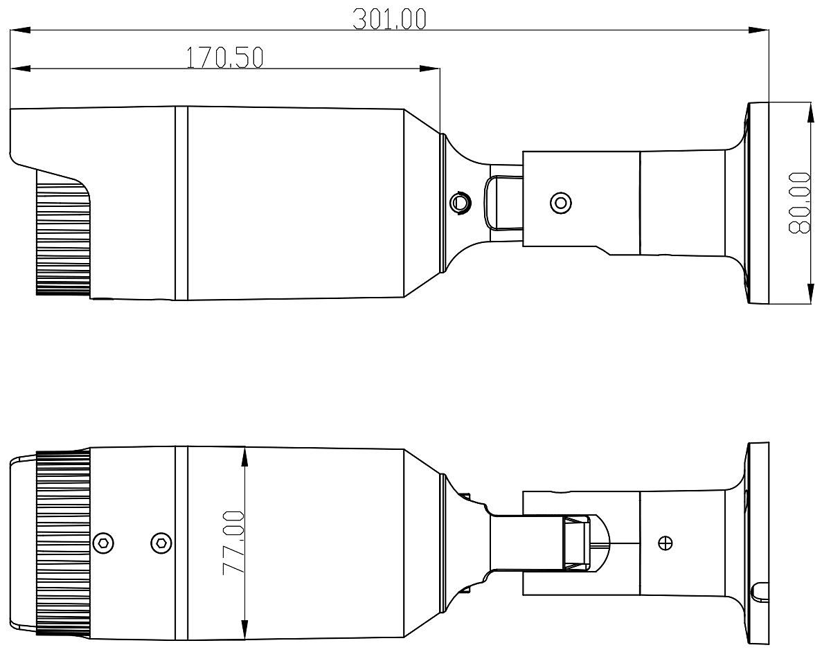 PX-TVH2030 - Wymiary kamery podane w mm.