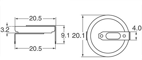 Wymiary CR2032/HFN.