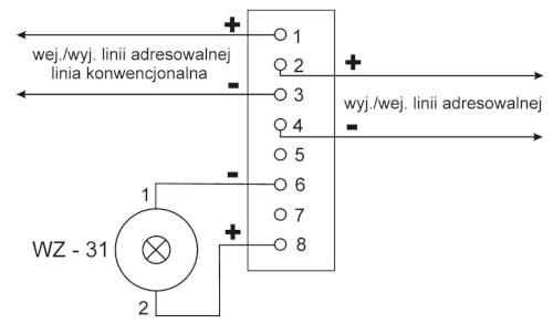 Podłączenie przewodów instalacyjnych do czujki DOP-6001