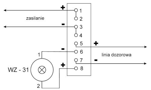 Podłączenie przewodów instalacyjnych do czujki DOP-6001R