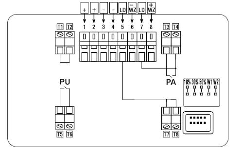 Schemat wewnętrznych połączeń i wyprowadzeń czujki DOP-6001R