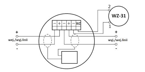 Schemat połączeń stosowany dla czujki pracującej w zerowym trybie dodatkowym.