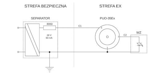 Przykładowy schemat podłączenia czujki PUO-35Ex z wykorzystaniem separatora