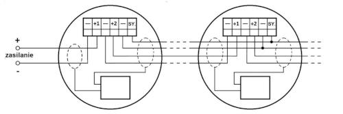 Przykład podłączenia grupy sygnalizatorów dla pracy synchronicznej