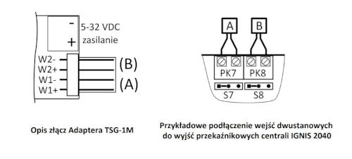Złącza, oraz przykładowe połączenia wejść dwustanowych do wyjść przekaźnikowych