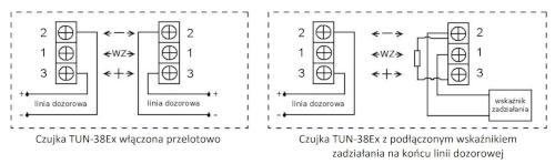 Przykładowe sposoby włączenia czujki TUN-38Ex do linii dozorowej