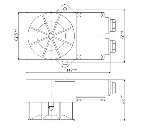 Wymiary czujki TUN-38Ex