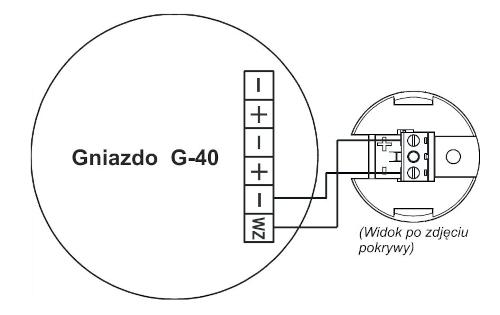 Przykład podłączenia wskaźnika zadziałania WZ-31 do gniazda czujki szeregu 40