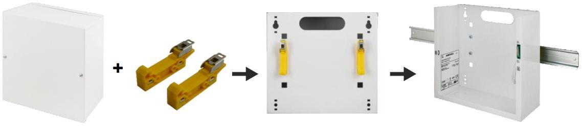 Schemat instalacji obudowy Pulsar na szynie DIN