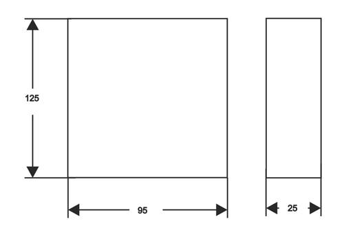 Wymiary uchwytu DIN do transformatorów (mm).