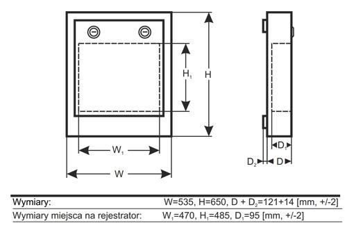 Wymiary obudowy PULSAR na rejestrator.