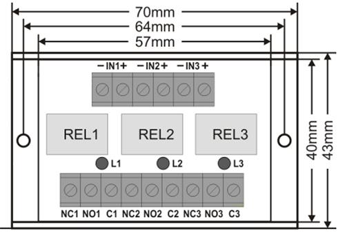 Wymiary modułu przekaźnikowego.