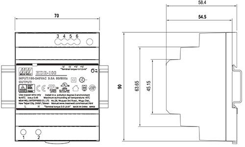 Wymiary HDR 48V/100W/1.92A