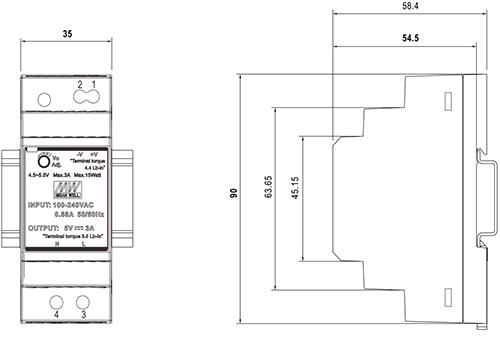 Wymiary HDR 15V/30W/2A