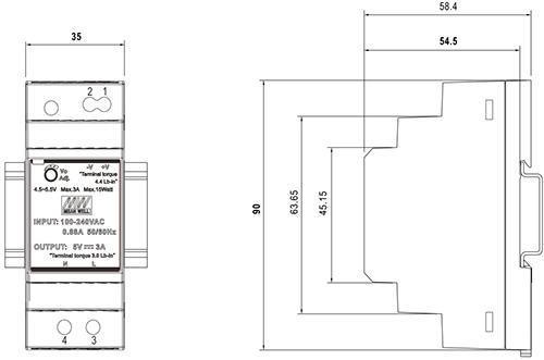 Wymiary HDR 48V/30W/0.75A