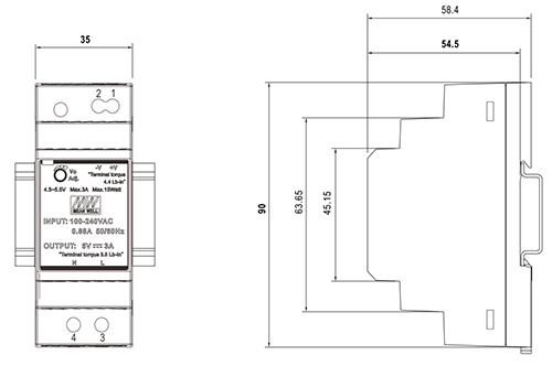 Wymiary HDR 12V/30W/2A