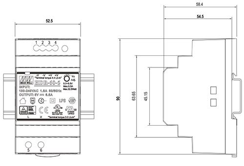 Wymiary HDR 12V/60W/4.5A