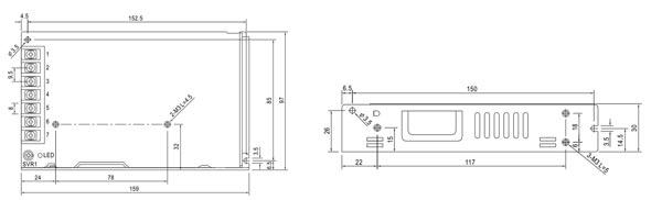 LRS-150-12 / PS8D - Wymiary zasilacza do zabudowy.