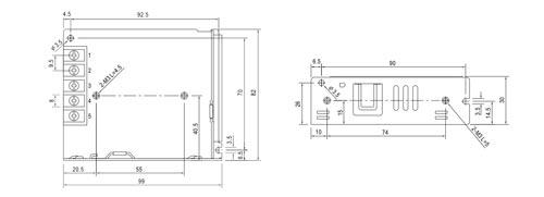 LRS-35-12 / PS2D - Wymiary zasilacza do zabudowy.
