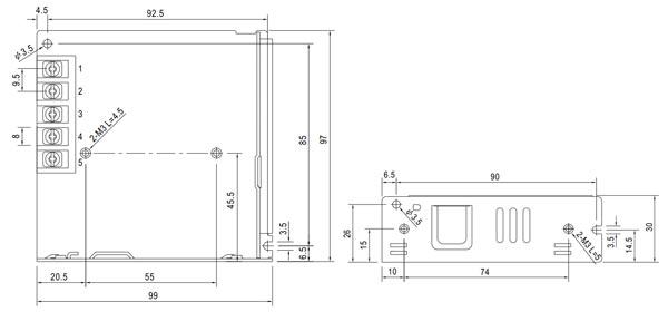 LRS-75-12 / PS4D - Wymiary zasilacza do zabudowy.