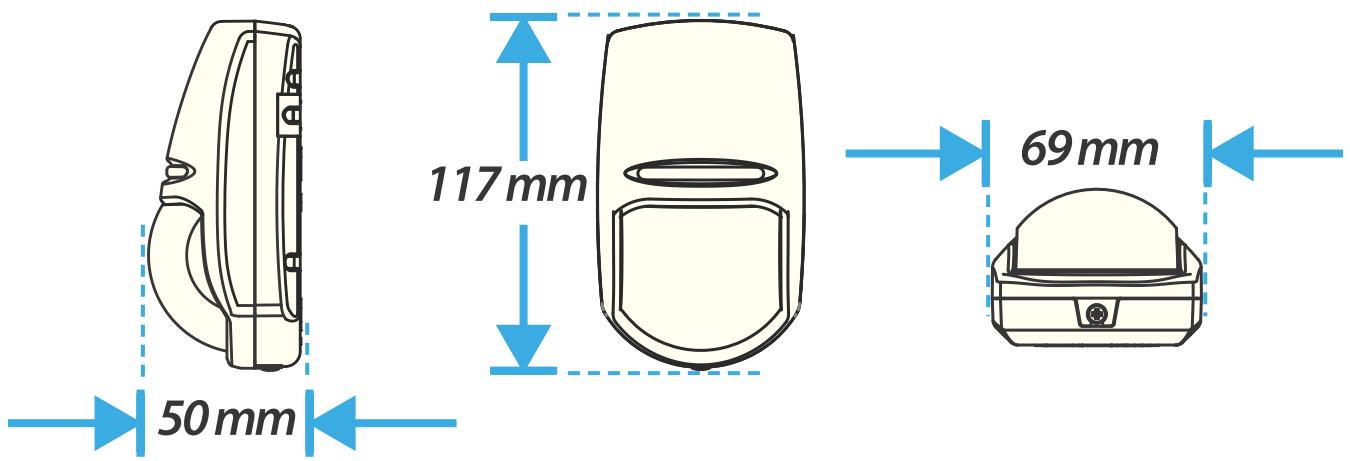 KX-10DP - Wymiary czujki podane w mm.