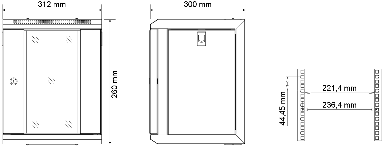 """W3304W - Wymiary szafy RACK 10"""" 4U."""
