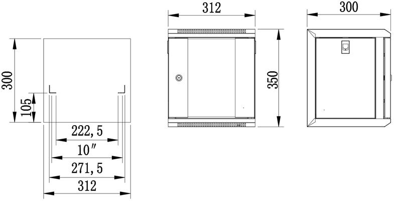 """W3306W - Wymiary szafy RACK 10"""" 4U."""