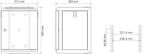 """W3309W - Wymiary szafy RACK 10"""" 4U."""