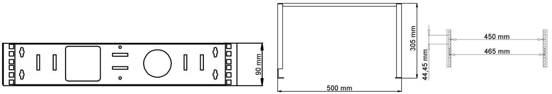 WU5302 - Wymiary uchwytu RACK podane w milimetrach.