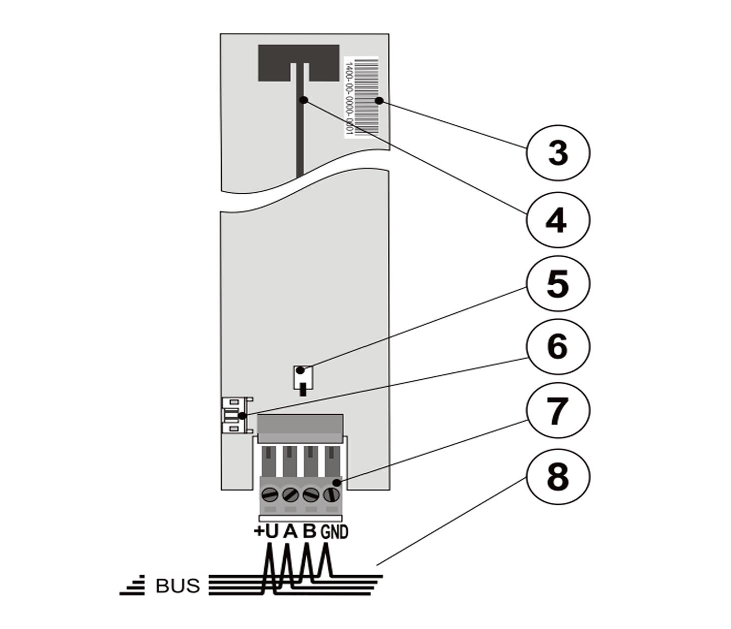 JA111R - Moduł radiowy schemat podłączenia do centrali serii JA-100.