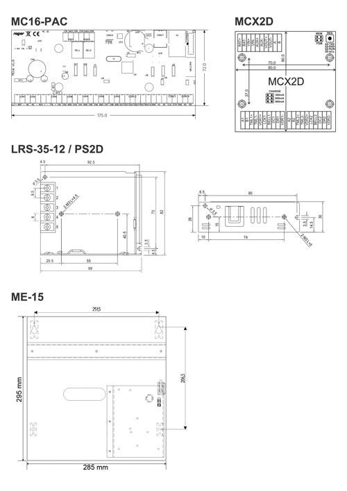 MC16-PAC-2-KIT - Wymiary poszczególnych elementów zestawu.