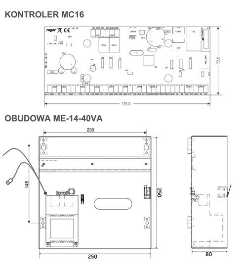 MC16-PAC-1-KIT - Wymiary poszczególnych elementów zestawu.