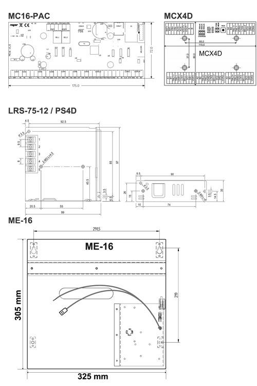 MC16-PAC-3-KIT - Wymiary poszczególnych elementów zestawu.