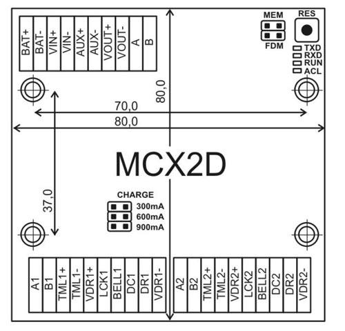 Wymiary expandera przejść MCX2D