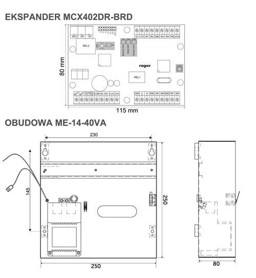 MCX402-1-KIT - Wymiary poszczególnych elementów zestawu.