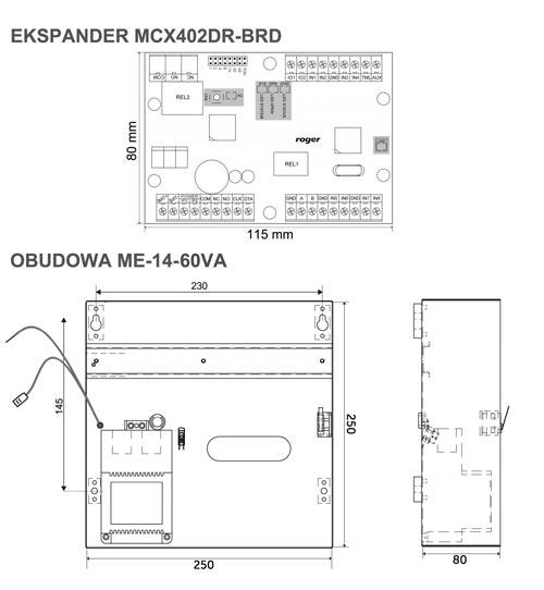 MCX402-2-KIT - Wymiary poszczególnych elementów zestawu.