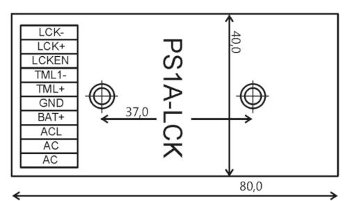Wymiary modułu PS1A-LCK