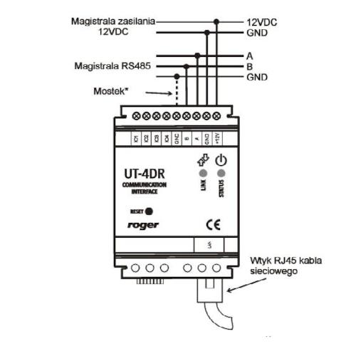 Podłączenia modułu UT-4DR w systemie RACS.