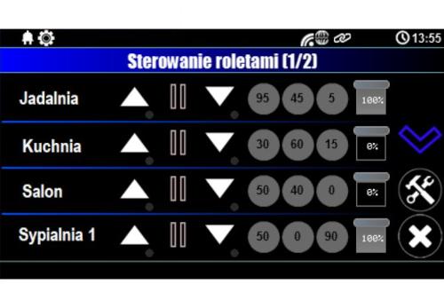 Ekran sterowania roletami z poziomu panelu dotykowego